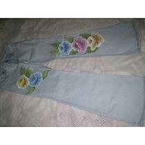 Calça Jeans Damyller Customizada Motivos Florais Tamanho 40