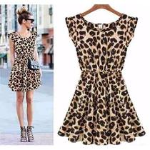 Impecável Vestido Luxo Chifon Onça Oncinha Leopardo Festa