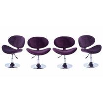 Conjunto 4 Cadeira Bella Base Disco Cromada - Roxa