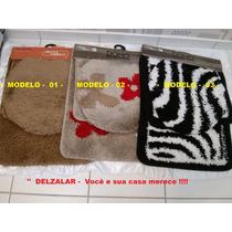 Jogo De Tapetes 03 Pçs P/ Banheiro Jolitex - + Brinde Extra