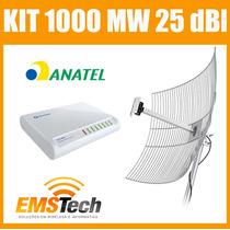 Kit Cliente Wireless 1.000 Mw + Antena 25 Dbi Cabo 10 Metros