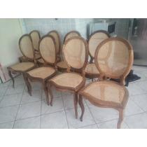 Jogo De 8 Cadeiras Medalhão Em Jacarandá Baiano Empalhadas