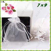 150 Saquinhos De Organza 7x9 C/ Fita De Cetim Branco