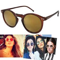Oculos Redondo Transparente Marrom Lente Dourado Espelhada