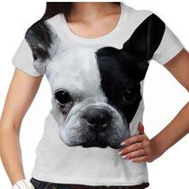 Camiseta Cachorro Bulldog Francês Branco E Preto Feminina