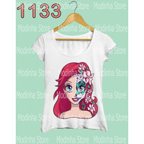 Camiseta Tshirt Feminina Princesa Ariel Ruiva Caveira Linda