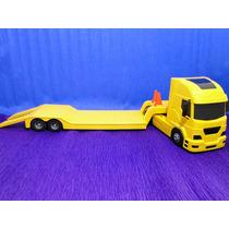 Caminhão Prancha Jamanta Amarela Comp=65cm Larg=12cm A=18cm