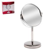 Espelho De Mesa Dupla Face Cromado De Aumento P/ Maquiagem