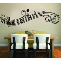 Adesivo De Parede Floral Sala Galho Notas Musicais Música