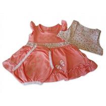 Vestido Para Bebê Com Coletinho - Salmão Kb 458