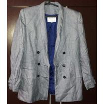 Conjunto De Saia E Blazer Azul E Branco