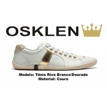 Sapatenis Osklen Feminino Riva Branco Faixa Dourado Original