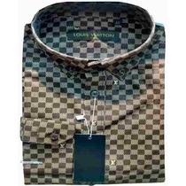 Camisa-social-masculina-louis-vuitton-quadriculada-marrom-