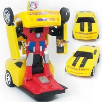 Carrinho Bate Bate Volta Camaro Amarelo Vira Robo Trasformes