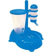Bebedouro E Comedouro Automatico Para Cães Azul
