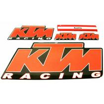Kit Cartela 5 Adesivos Ktm Racing Resinados Base Prateada