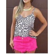 Saia Bico Amassada Jeans + Blusinha Animal Print