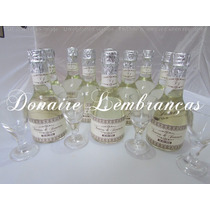 30 Mini Champagnes Personalizados + Mini Taças De Vidro