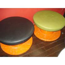 Jogo De Pufs Poltrona Decorativa + Mesa Cerretel De Madeira
