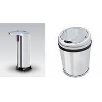 Kit Lixeira 03 Lts E Saboneteira Inox Automática C/ Sensor