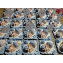 50 Lembrancinhas De Nascimento Em Biscuit Com Porta Recado.