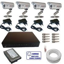 Kit 4 Câmeras De Vigilância Infravermelho Gravador Dvr H264