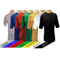 Camiseta Slim Algodão Lisas Costura Dupla (ganhe Um Brinde)