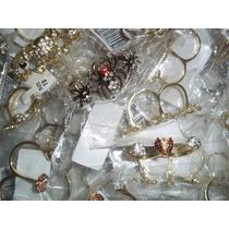 70 Anéis Metais-diversos-dourados E Prateados-1,2 E 3 Dedos.