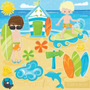 Kit Scrapbook Digital Praia Surf Hawaii Imagens Cod 13