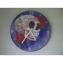Relógio De Parede Em Vinil, Caveira Mexicana