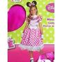 Fantasia Roupa Vestido Minnie Rosa Licenciada Disney