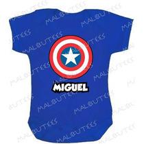 Capitão America Body Infantil Azul Baby Super Herois