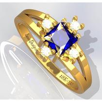 Anel Feminino De Ouro 18k, Safira Natural E 4 Diamantes.