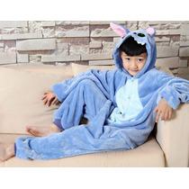 Pijama Macacão Infantil Stitch Animal Desenho Filme Capuz