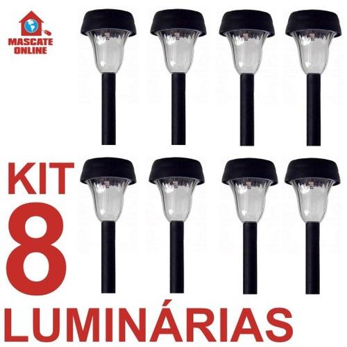 kit iluminacao jardim:Kit 8 Luminária De Energia Solar. Poste Luz Baliza Jardim – R$ 168,00
