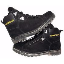 Bota Coturno Botina Sapato Masculino Em Couro Com Brinde