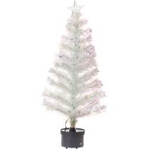 Árvore Fibra Otica Branca Com Luz Colorida 120 Cm