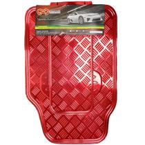 Tapete Automotivo Alumínio Cromado Vermelho Carro Universal