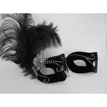 Mascaras Casal Colombina Veludo Strass Luxo Gala Festa Pluma