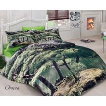 3d Delux Cetim Forest Jogo De (lençol) Cama Casal Duvet Cov