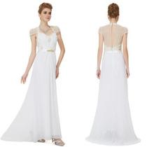 Vestido Noiva Casamento Civil Branco Renda Luxo