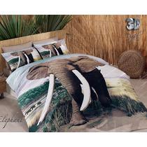 3d Delux Cetim Elephant Jogo De (lençol) Cama Casal Duvet C