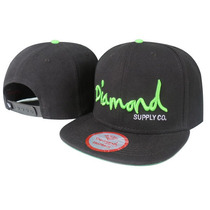 Boné Aba Reta Diamond Supply Co. Snapback Preto E Verde Br