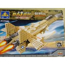 Avião Caça Russo Su-27 - 339 Peças Para Montar Similar Lego