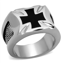 Anel Masculino Cruz Malta Religioso Onix Aço Inox Tk316