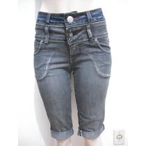 Shorts Bermuda Jeans Tam 38 Cintura Alta Ótimo Estado