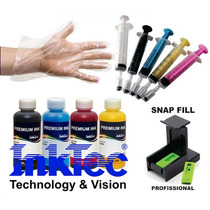 1000ml Kit Tinta Inktec Recarga Cartuchos Hp Snap 5 Seringas