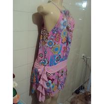 Vestido Rosa Com Flores Danque Tamanho P