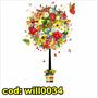 Adesivo Decorativo Árvore No Vaso Flores Borboletas Will0034