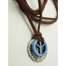 Cordão Colar Couro E Camurça Ajustavel Simbolo Da Paz Azul